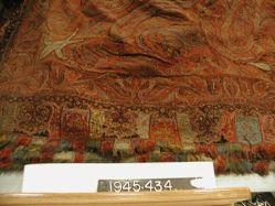Square shawl of interlocking twill tapestry