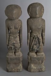 Pair of Ancestor Figures with Cloth Waist Wrappers