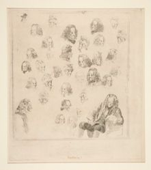 Thirty-Six Heads, Plus One Full Seated Figure, of Voltaire
