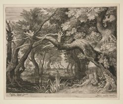 Landscape with stags