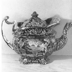 Teapot with a view of Lafayette at Franklin's Tomb