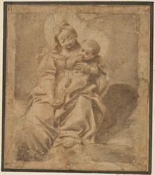 Madonna and Child, based on Barocci's etching Madonna and Child in the Clouds