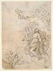 Vision of a Saint (recto); Complex of Buildings (verso)