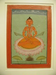 Red-skinned deity on Pink Lotus with Burning Brazier