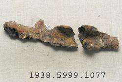 Iron Calvary Helmet Fragment and Two Fragments of Shield Reinforcing Grip