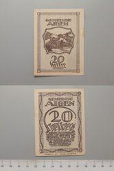 20 Heller from Aigen, redeemable 31 Oct. 1920, Notgeld