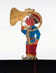 "Shadow Puppet (Wayang Kulit) of a Sousaphone Player or ""Trompet 1"""