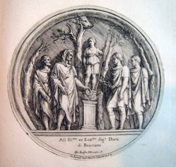 Four men and a statue, after a roundel from the Arch of Constantine in Rome