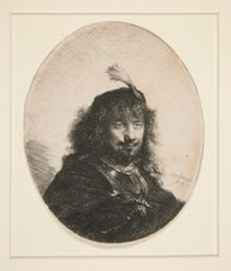 Self-Portrait(?) with Plumed Hat and Lowered Sabre