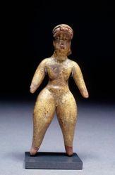 Olmec standing female figurine with split oval motif in headband