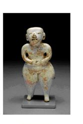 Standing female figurine with hands on abdomen