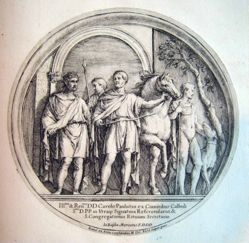 Four Romans, a horse and a dog, after a roundel from the Arch of Constantine in Rome
