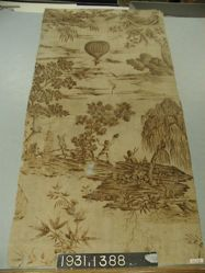 """Length of printed linen, """"Balloon Ascension"""""""
