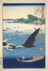 Whaling at Goto in Hizen Province (from the series One Hundred Famous Views of the Provinces)