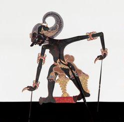 Shadow Puppet (Wayang Kulit) of Bima Hitam, from the consecrated set Kyai Nugroho