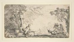 A Satyr Resting Beneath a Herm