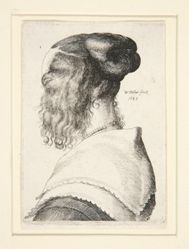 Young Woman with Side Curls seen from Behind to Left (Hollar's Wife Seen From Behind?)