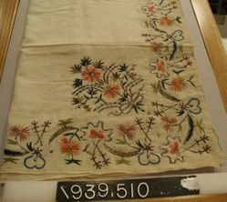Square of plain cloth, embroidered