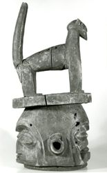 Janiform Helmet Mask Surmounted by an Animal