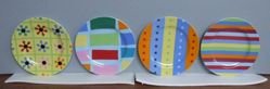 "Set of plates, ""Stripes"" pattern, with original box"
