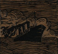 Linoleum block for The Steamboat, or Ocean Liner