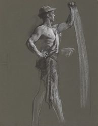 "Figure study for ""The Spirit of Vulcan, Genius of the Workers in Iron and Steel,"" lunette in the rotunda of the Pennsylvania State Capitol at Harrisburg"