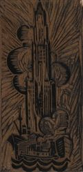 Linoleum block for Woolworth Tower no 2