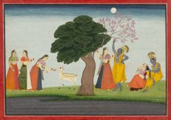 Illustration from a Bhagavata Purana Series, Book 10: Krishna and Radha Under a Tree