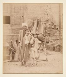 A Donkey Carrying a Veiled Arab Woman, Led by an Arab