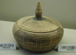 Pyxis, with conical knobbed lid