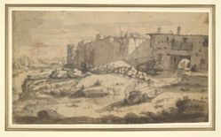 A View on the Tiber near the Ripa Grande, Rome (recto); Study for Two Horses Carrying Barrels (verso)