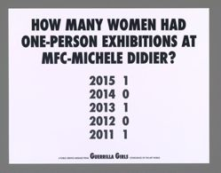 How Many Women Had One-Person Exhibitions at MFC-Michele Didier, from the Guerrilla Girls' Portfolio Compleat 2012–2016 Upgrade
