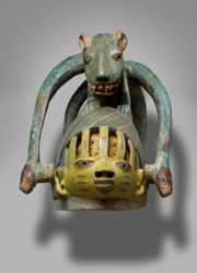 Helmet Mask with Inner Head Surmounted by a Quadruped and Serpents