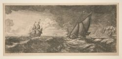 A Yacht and Three Warships in a Storm (Seascape)