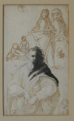 Studies of a draped man, two females, children and putti