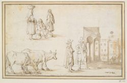 Studies of Two Cows, Figures, and Street Scene