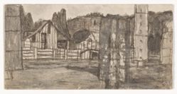 James Castle, Untitled [Farmscapes] (recto and verso)