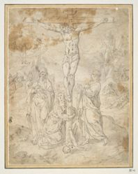 Christ on the Cross between the Virgin and St. John with Scenes of the Passion in the Background