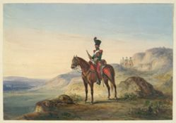 Mounted Soldier in Rocky Terrain with Guards in Distance