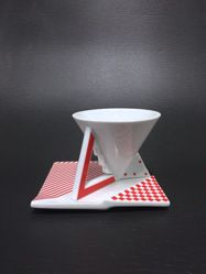 "Cup and Saucer, ""Millennium"" Line, ""Red Graphics"" Pattern"