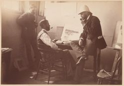 Artists in Picturesque Atlas Offices, Wynard Square (possibly William Fitler and Frederick B. Schell), from the album [Sydney, Australia]
