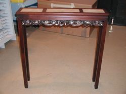 Narow display table with marble insets and mother-of-pearl inlay