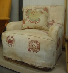 Upholstered Armchair with Cushion
