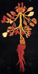 Textile Sculpture of a Flowering Fruit Tree with Birds