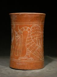 Cylinder Vessel with Bird on Waterlilly Monster