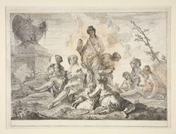 Venus, Vulcan, Three Nymphs and Three Cherubs in a Landscape