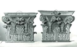 Two Wooden Capitals: Corinthian