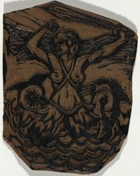 Linoleum block for La Belle France, or Woman with sword