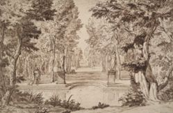 Imaginary Vie of a Park with Statues and Couples