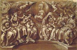 Medallion of Saint Bernardino of Siena accompanied by Invocation, Wisdom, Humility, Loyalty, Hope, and Charity